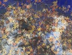 The party 's over - 2021 - Pigments minéraux, Nikawa glu, encre de Chine et feuilles de cuivre sur panneau - 50 x 65,2 cm