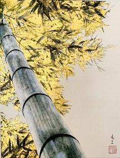 Magnificence - Bambou - 2019 - Pigments japonais, colle de cerf, encre de Chine et feuilles d'or sur panneau -40,9 x 31,8 cm