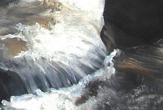 Les eaux vives - extrait d'un quadriptyque - huile sur toile