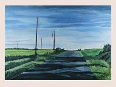 Moderne Landschaft V, huile sur papier, 100x70cm, 2019