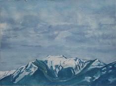 Der blaue Berg (Monti di Sant Abbondio), 76 x 56cm, huile sur papier, 76 x 56cm, 2021