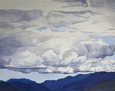Der Himmel über dem See I, huile sur papier, 63 x 50cm, 2020