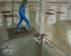 Blaues Mädchen, huile sur papier, 63 x 50cm, 2020