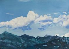 Der Himmel über dem See II, huile sur papier, 70 x 50cm, 2020