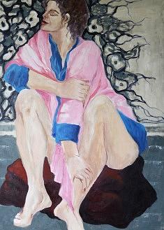 Le peignoir rose Huile sur toile (50 x 70 )