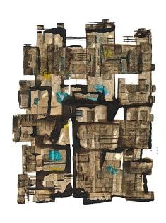 L'Elégance du Brutalisme - café, feutre et pastel sur papier - 30x42cm - 2021