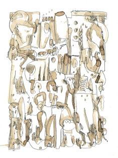 L'Intérieur d'un cagibi - feutre et café sur papier - 30x42cm - 2021
