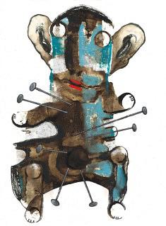 Ourson fétiche à clous - café, feutre, pastel et gouache sur papier - 30x42cm - 2021