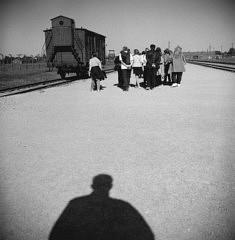 © Guillaume Coppé Un wagon sur la Judenrampe, où l'on débarquait les prisonniers avant de les trier Camp d'extermination d'Auschwitz Birkenau, 2018.