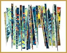 Huile sur papier et collage montée sous passe-partout et cadre 40x50 cm