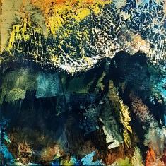 huile et collage sur châssis bois 100x100 cm