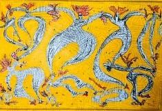 De la série «Dancing or Flying», papier mâché marouflé sur toile, Encre de Chine et acrylique, technique mixte, 95x70, Moscou 2018
