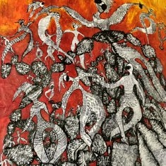 De la série « Dancing or Flying Above the Chaos », papier mâché marouflé sur toile, Encre de chine et acrylique, technique mixte, 135x115, Paris 2020 (confinement)