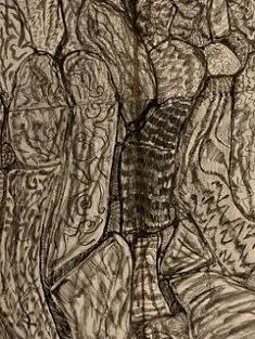 De la série «Lieux mouvants», Encre de Chine et stylo bille sur papier collé sur papier mâché kraft, marouflé sur carton, 8 feuilles A4, Paris 2015