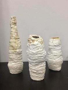 De la série «Vases qui dansent», Vases en grès chamotte émaillé, 45x15, Moscou 2018
