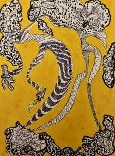 De la série «Dancing or Flying», oeuvres sur papier, bois, carton, technique mixte, Encre de Chine, acrylique, Moscou-Paris 2017-2020.