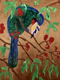 De la série «Be a Bird», acrylique sur papier, 15x20, Hennebont 2018