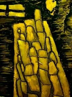 De la série «Pierres jaunes», Encre de Chine et acrylique sur papier kraft mâché marouflé sur toile, 50x60, Paris 2020