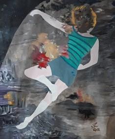 2032 sur la lune / 2020 Anne Josse 1 / toile, peinture acrylique, 190x150