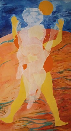 """""""Vénus2020"""" Participatio.Maria Goncalvez (http://www.couleursbrazil.com/)/ toile, peinture acrylique, 220x130"""