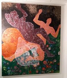 JANET / 2015 et 2020 Toile froissée sous peinture acrylique fraiche, 190x160 cm
