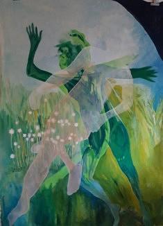 """Prairie verte""/  2020 Anne Josse 2 / toile, peinture acrylique, 180x130"