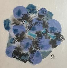 """L'Univers connecté"""" 01, peinture encre de chine sur papier de riz, format 65x65 cm"""