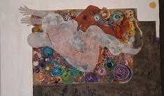 """""""Ma Source 2020"""" / toile, peinture acrylique, 190x120. Imbrication de mon féminin masculin à la création."""