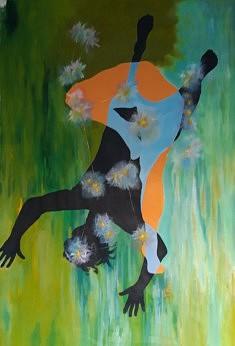 """""""ORION"""" 2021 sur toile, peinture acrylique 187 x 130 Atterissage sur terre par la naissance !!"""