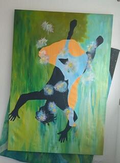 """""""ORION"""" 2021 sur toile, peinture acrylique 187 x 130 Atterissage sur terre par la communion de la constellation Orion"""" !!"""