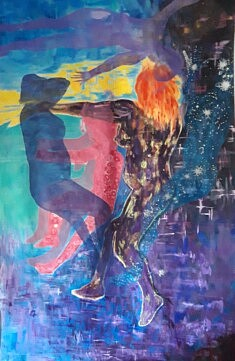 """""""Tina"""" 2021, acrylique sur toile, format 120 x 142 cm."""