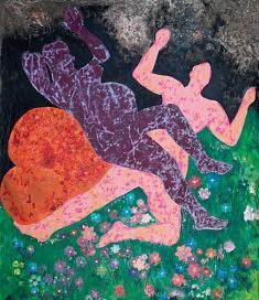JANET / 2017 Toile froissée sous peinture acrylique fraiche, 190x160 cm