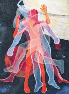 Affognon Sévanou / 2015-2018 / Toile, peinture acrylique, craies, encre de chine, 190x143 cm
