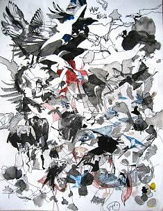 Les Oiseaux 4 - encre sur papier (50 x 65 cm) - collection privée