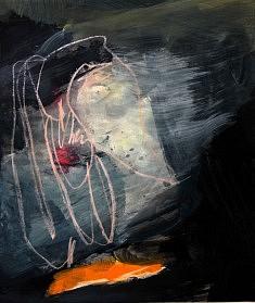 """""""BlackSerieXV-01"""" ,  acrylique sur papier 32 x 38 cm"""