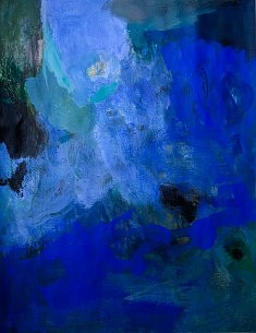 """""""BlueCobaltXV-02"""", acrylique sur papier marouflé sur toile 50 x 65 cm"""