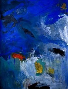 """""""BlueCobaltXV-03"""", acrylique sur papier marouflé sur toile 50 x 65 cm"""