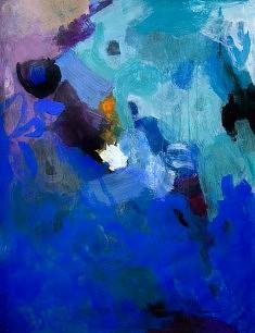 """""""BlueCobaltXV-04"""", acrylique sur papier marouflé sur toile 50 x 65 cm"""