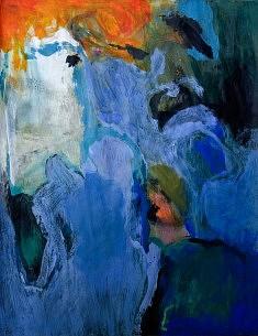 """""""BlueCobaltXV-01"""", acrylique sur papier marouflé sur toile 50 x 65 cm"""